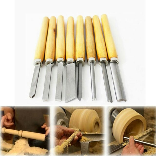 8 PC HSS HIGH SPEED STEEL WOOD TURNING LATHE TOOLS CHISEL GOUGE WOODWORKING SET