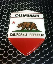 "California Golden State Proud Shield Domed Decal Emblem Car Sticker 3D 2.3x 3.3"""