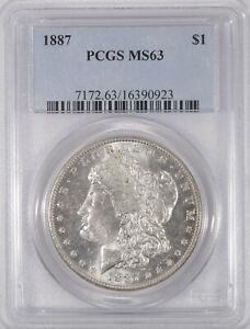 PCGS-MS-63-1887-Morgan-Silver-dollar-choice-Blast-White-semi-prooflike-no-toning