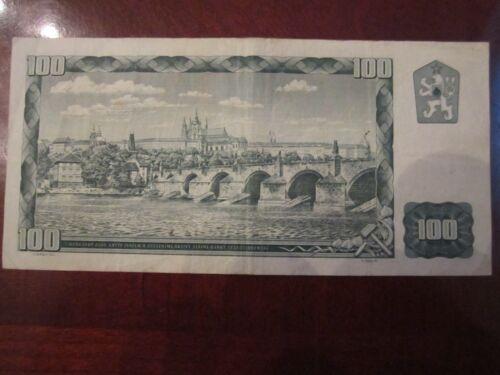 100 KORUN CURRENCY NOTE 1961 CZECHOSLOVAKIA STO KORUN OFC-C