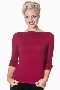 Plum-Vintage-50-039-s-Rockabilly-Blouse-Retro-Addicted-Sweater-Top-Banned-Apparel