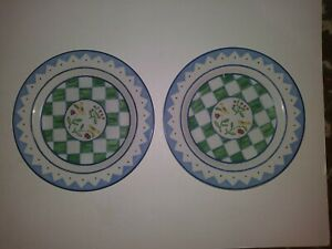 Coventry-Folklore-2-Salad-Lunch-Plates-Bird-Green-White-Chex-Blue-Lines-8-5-8-034