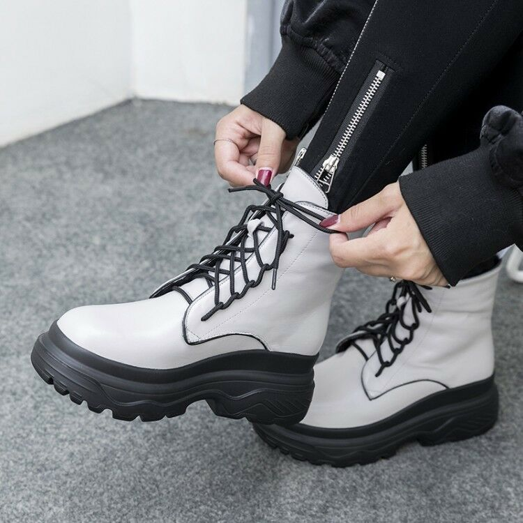 Women Gladiator Lace Up Platform Motorcycle Riding Mid Calf Boots Creepers shoes