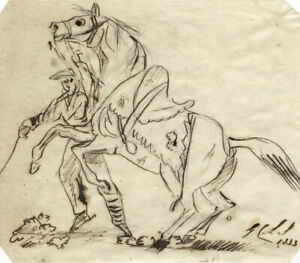Charles-Loraine-Smith-Rearing-Horse-amp-Rider-Original-1833-pen-amp-ink-drawing