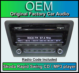 SKODA-swing-CD-MP3-Player-RAPIDO-radio-de-coche-unidad-central