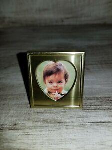 "Adorable Vintage Gold Tone Heart 1.5"" MINIATURE PICTURE FRAME Photo"