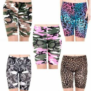Womens High Waist Cycling Shorts Camouflage Snake Leopard Print Gym Hot Pants