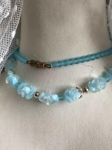 1930s-Style-Glass-Necklace-Opalescent-Opaline-Blue-Retro-Vintage-Screw-Clasp-Old