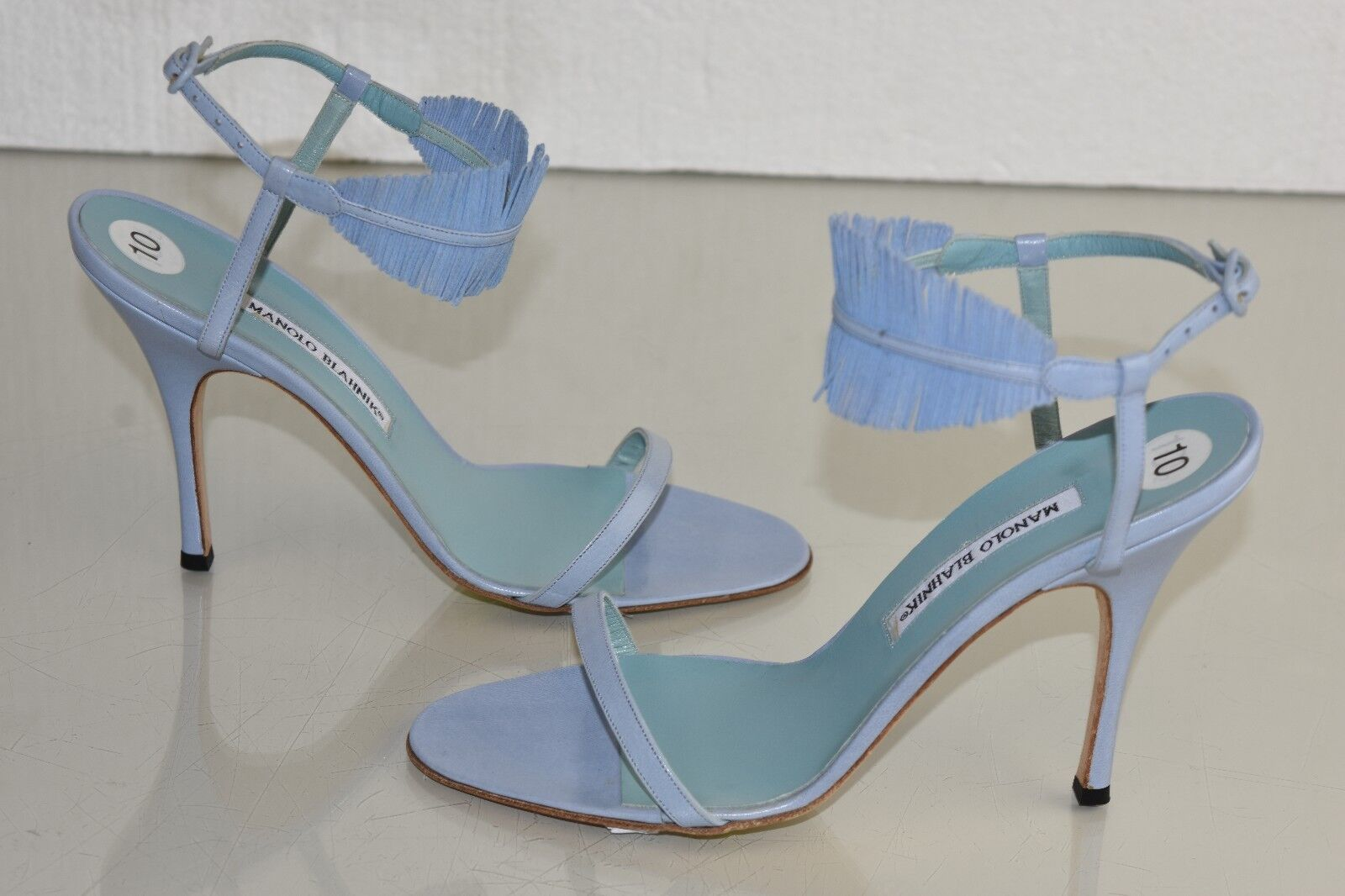 965 New Manolo Blahnik Sandals Light  bluee Heels Leather Strappy shoes 40