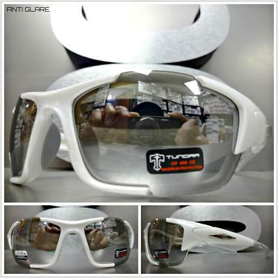Mens WRAP AROUND SPORT CYCLING Casual Dressy SUN GLASSES White Frame Mirror Lens