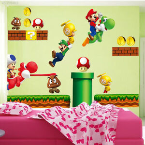 Super-Mario-Bros-Mural-Wall-Decals-Sticker-Kids-Room-Drawers-Decor-Removable