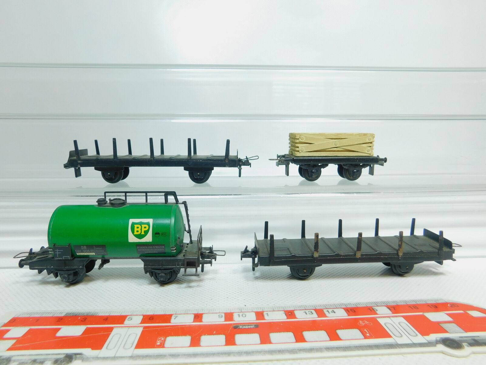 BM156-0,5  4x Trix Express H0/Dc Carro Merci : Vagone Cisterna Bp Db + a Stanti