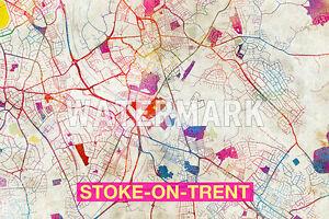 Carte Dangleterre.Carte De Stoke On Trent Angleterre Art Imprime Graphique Poster Old
