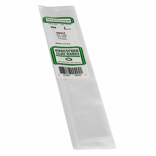 """3.2MM Opaque White Polystyrene Angle EVG294 by Evergreen Scale Models .125/"""""""