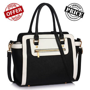 Ladies BLACK WHITE Designer Handbag Women s Faux Leather Shoulder ... 694071d3e0bc9