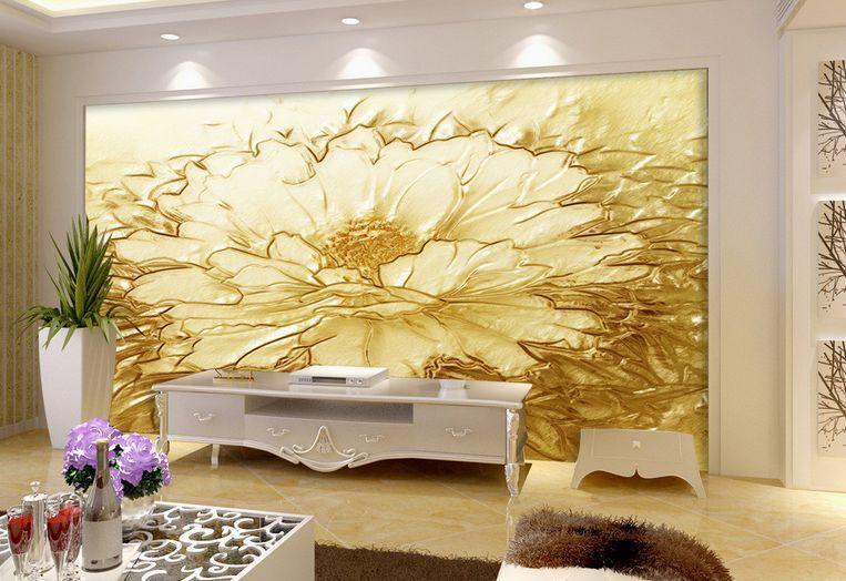 3D fiori dorati Parete Murale Foto Carta da parati immagine sfondo muro stampa