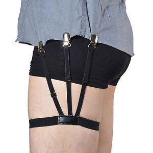 Men/'s Shirt Stays Holders Elastic Leg Garter with Locking Clamps Non-slip