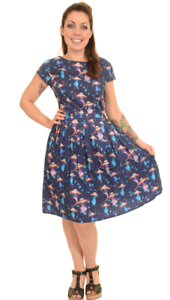 Damen-Run-amp-Fly-Indie-RETRO-RETRO-5o-039-s-Tee-Kleid-mit-Ufo-Aufdruck