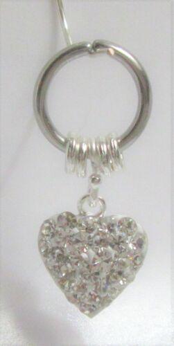 Horizontal Hood Clit Clitoral HCH Gem Loaded Puffed Heart Dangle Hoop Ring 16G