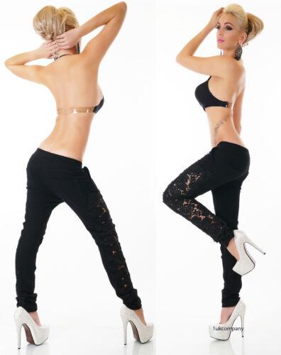 Women/'s Black Jeans Jogging Style Boyfriend Harem Tracksuit Lace Trousers HOT
