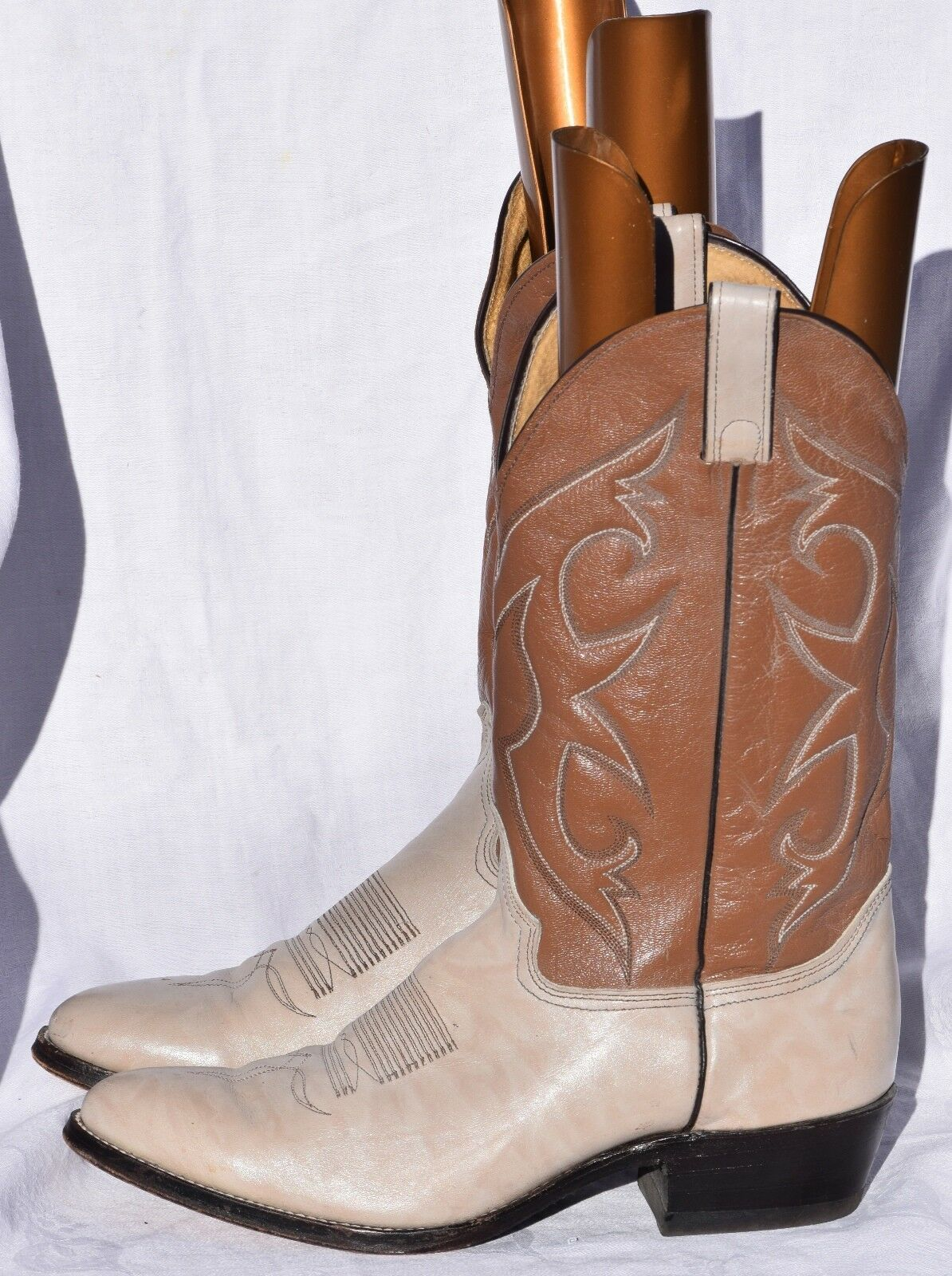 Abilene cream and brown leather mens cowboy boots  US 10.5 B Excellent