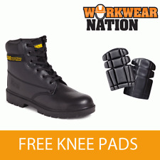 Apache Ap300 Leather Black Work Safety Boot Steel Toe Cap Free Knee Pad