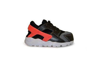 Infants Nike Huarache Run (TD) - 704950 010 - Black Crimson Trainers