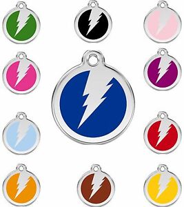 Red-DIngo-Lightning-Bolt-Flash-Engraved-Dog-Cat-Identity-ID-Tags-Discs-1ZF
