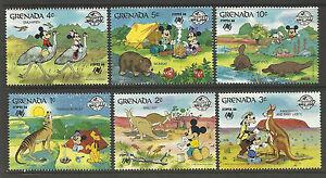 GRENADA-1988-SYDPEX-DISNEY-Wallaby-Kangaroo-Emu-Wombat-Platypus-Wolf-6v-MNH