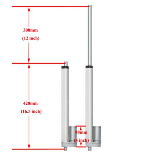 "2 Set 12/"" DC Linear Actuators 12Volt 14mm//s Electric Motor 220lbs Max Pound Lift"