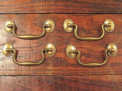 Vintage NOS Antique BRASS Dresser Drawer Cabinet Door Pulls Keeler Handles