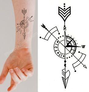 Temporary Tattoo Black Geometric Compass Arrow Fake Body Art Sticker Waterproof Ebay
