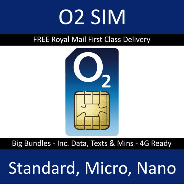 O2 Sim Card - 2G/3G/4G Sim Card - Pay As You Go / PAYG – Standard Micro Nano