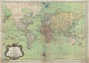 MP7 Vintage Historical 1778 Nautical Chart World Map Poster Re-Print ...