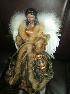 African-American-Angel-Tree-Table-Topper-Bronze-Gown-Holding-Lantern-12-034-Beautif