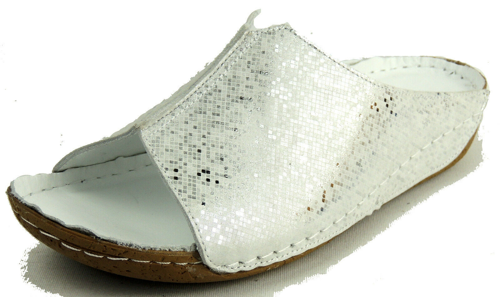 ANDREA CONTI  Damen Pantolette  BUTTERWEICHES LEDER  weiß silber