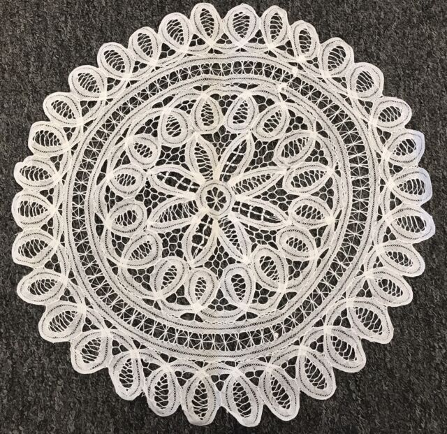 20 beige vintage cotton handmade battenburg lace crochet doily
