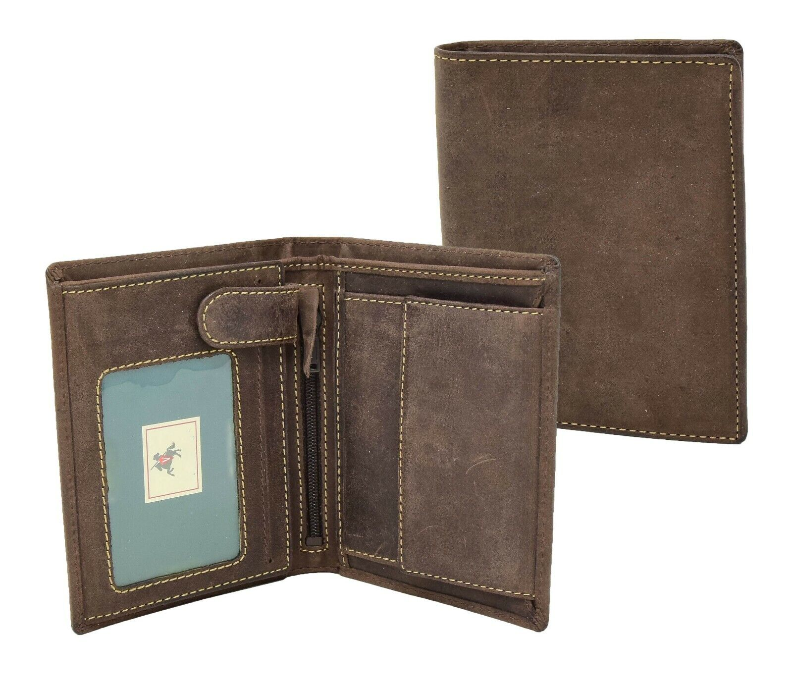 Mens Luxury Brown Distressed Leather Wallet ID Coins Credit Cards Notes Holder