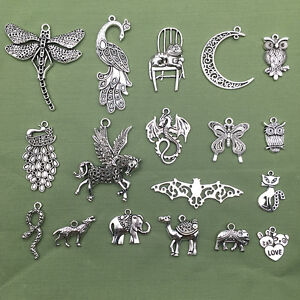 Lot-Vintage-Tibet-Silver-Peacock-Elephant-Animal-Pendant-Charms-Jewelry-Findings