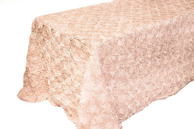 90 X 156 BLUSH PINK RIBBON ROSE ROSETTE SATIN TABLECLOTH