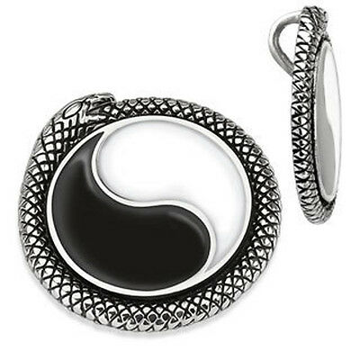 Stainless Steel Yin Yang Snake Medallion Pendant W/ Necklace