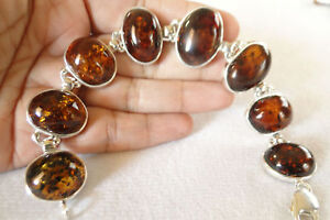 Polish-Baltic-Amber-Honey-Cognac-925-Sterling-Silver-Bracelet-Poland