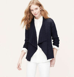 NWT-Ann-Taylor-Loft-Navy-Blue-Chunky-Cotton-Open-Shawl-Cardigan-Sweater-69-PXS