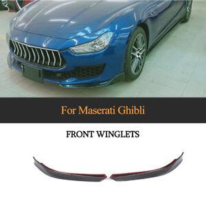 Paar-Carbon-Flaps-Splitter-Front-Stossstange-Spoiler-for-Maserati-Ghibli-2018-19