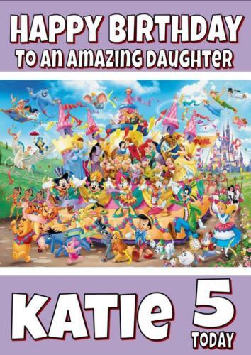 Personajes De Disney-Tarjeta De Cumpleaños Personalizada Cualquier Nombre Edad relación