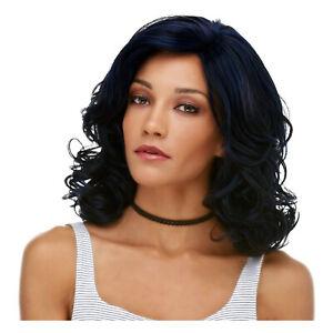 Adult Womens Dark Navy Blue Black Wavy Heat Safe Halloween Costume Long Wig