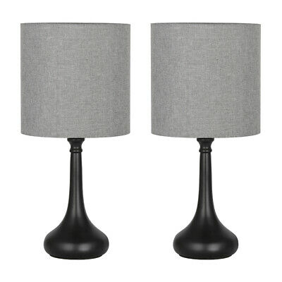 Set Of 2 Bedside Table Lamps Gray Line