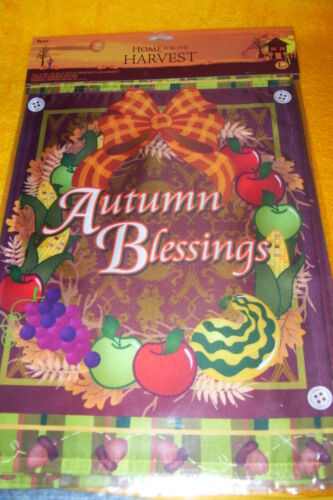 """AUTUMN BLESSING WREATH HOME FOR THE HOLIDAYS 12/"""" X 18/"""" FLAG NEW"""