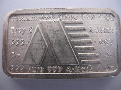 Vintage 1980 A-Mark USVI 1 Troy Oz Silver Ingot .999 Anaheim Metal Co