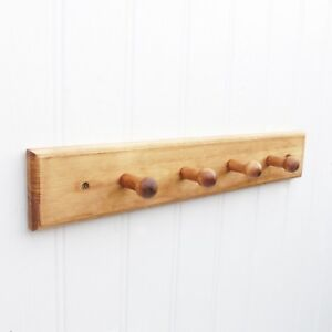 Rustic Shaker Style Wooden Coat Rack Wall Mounted 4 Pegs